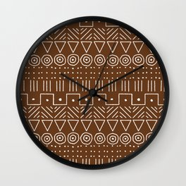 Mudcloth Style 1 in Brown Wall Clock