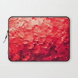 MERMAID SCALES 4 Red Vibrant Ocean Waves Splash Crimson Strawberry Summer Ombre Abstract Painting Laptop Sleeve