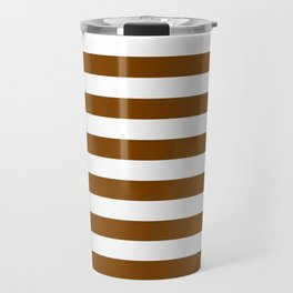 Narrow Horizontal Stripes - White and Chocolate Brown Travel Mug