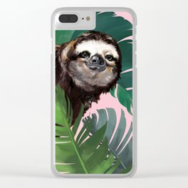 Sneaky Sloth With Banana Leaf in Pink Clear iPhone Case