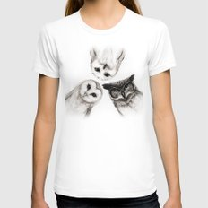 The Owl's 3 SMALL Womens Fitted Tee White