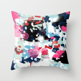 Aubrey - Abstract painting in bright colors pink navy white gold Throw Pillow