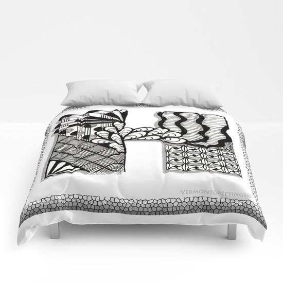 Zentangle H Monogram Alphabet Illustration Comforters