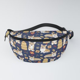 Corgis celebrate christmas - blue pattern Fanny Pack