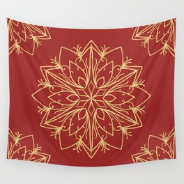 Golden Snowflake Wall Tapestry