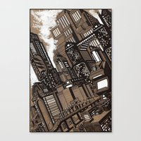 cityscape Canvas Prints featuring Cityscape by David Miley
