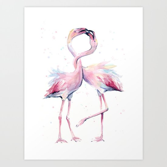 Two Flamingos Watercolor Flamingo Love Art Print