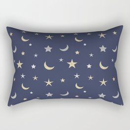 Gold and silver moon and star pattern on navy blue background Rectangular Pillow