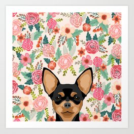 Chihuahua dog floral pet pure breed gifts for chihuahua black and tan Art Print