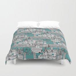 London toile blue Duvet Cover
