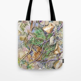 ground beneath my feet in autumn: twigs, pine needles, dry leaves, dry grass Tote Bag