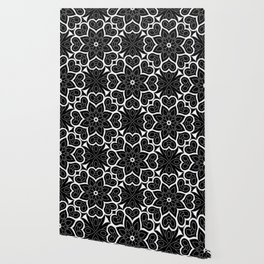 Black and White Flower Hearts Wallpaper