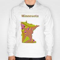 minnesota Hoodies featuring Minnesota Map by Roger Wedegis