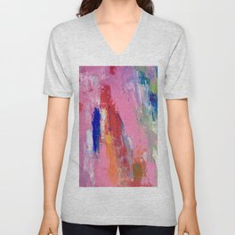 Lucky #13, a contemporary abstract in pinks and fuchsias Unisex V-Neck