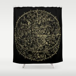 Astro Astronomy Constellations Astrologer Vintage Map Shower Curtain