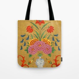 Flower arrangement and scrollwork -Vintage Indian Art Print Tote Bag