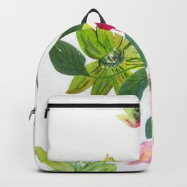 green clematises, pink hellebores Backpack