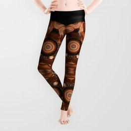 brown ying yang mandala Leggings