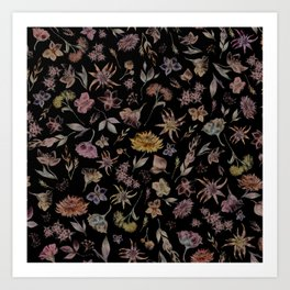 Botanical Study- Dark Colorway Art Print