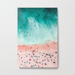 People Crowd On Algarve Beach In Portugal, Crowded Beach, Beach Print, Pink Beach Print, Art Print Metal Print