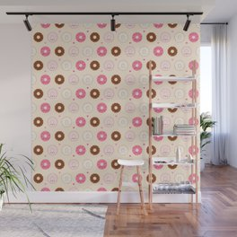 Cute Little Donuts on Cream Wall Mural