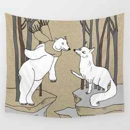 Arctic fox and Polar bear, Romeo and Juliet Wall Tapestry