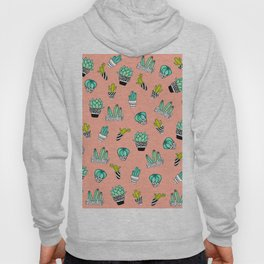 Summer Watercolor Cactus Modern Coral Pattern Hoody