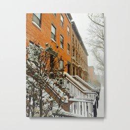 Brooklyn Wintertime is coming Brownstone Metal Print