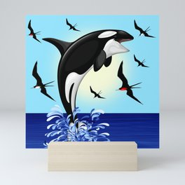 Orca Killer Whale jumping out of Ocean Mini Art Print