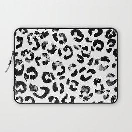 Modern black white marble stylish leopard pattern Laptop Sleeve