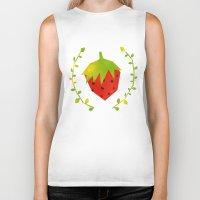 strawberry Biker Tanks featuring Strawberry by Strawberringo