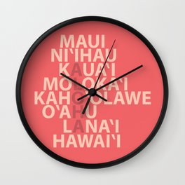 Hawaiian Islands Coral Wall Clock