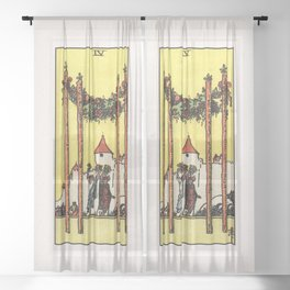 FOUR OF WANDS / WHITE Sheer Curtain