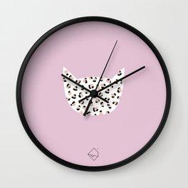 Litte leopard kitty cat animal print girls illustration pink Wall Clock