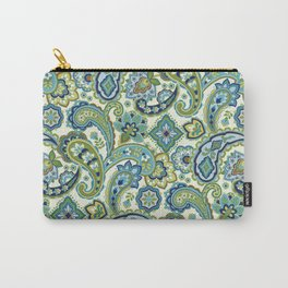 Blue and Green Paisley Carry-All Pouch