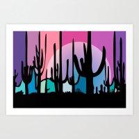 Cactus Moon Art Print