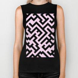 Black and Pink Lace Pink Diagonal Labyrinth Biker Tank