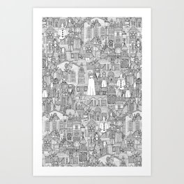 vintage halloween black white Art Print