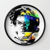 senna Wall Clocks featuring Ayrton Senna do Brasil - White & Color Series #4 by Universo do Sofa - Artes & Etecetera