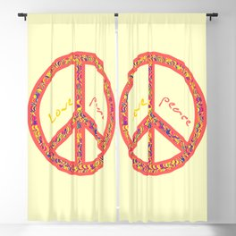 Peace and love, colourful and groovy hippie sign, 60's symbol of freedom Blackout Curtain