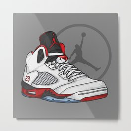 Jordan 5 (Fire Reds) Metal Print