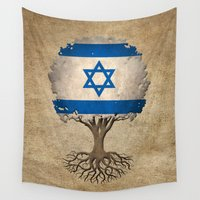 israel Wall Tapestries featuring Vintage Tree of Life with Flag of Israel by Jeff Bartels