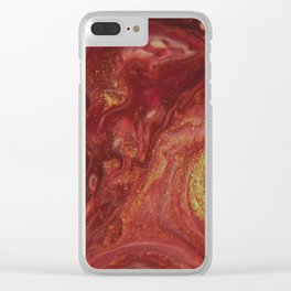 Fluid Nature - The Heat of Flames - Abstract Acrylic Pour Art Clear iPhone Case