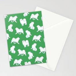 Samoyed Pattern (Green Background) Stationery Cards