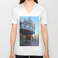 movies V-neck T-shirts featuring Day at the movies by Debra Slonim Art & Design