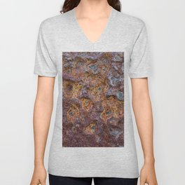 Old rusty metal wall surface Unisex V-Neck