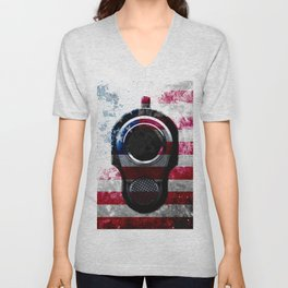 M1911 Colt 45 and American Flag on Distressed Metal Unisex V-Neck