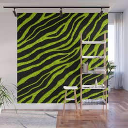 Ripped SpaceTime Stripes - Lime/Yellow Wall Mural