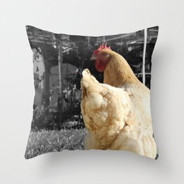 Another Dramatic Chicken Throw Pillow