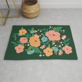 Painted Florals on Green Rug
